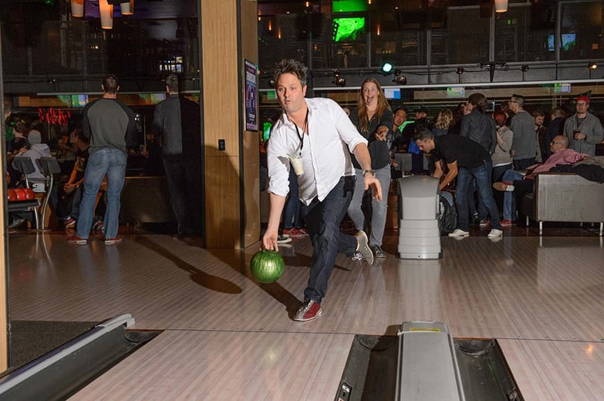 Brian Callaway at the Bowling Night - Credit: Walter van Dusen