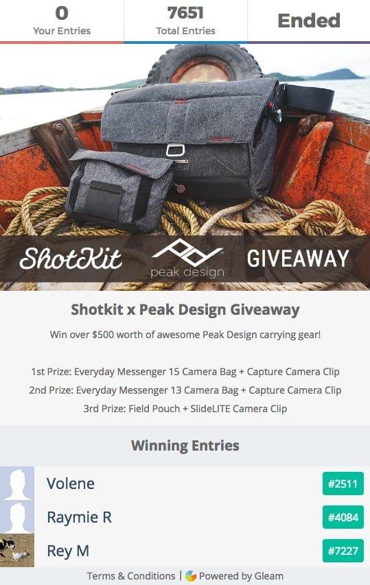 Peak Design Camera Bag Giveaway