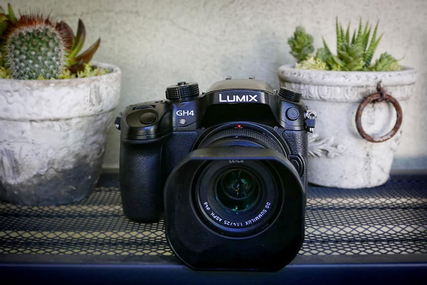 The Panasonic GH4 micro four thirds sensor mirrorless camera has a rugged body similar to a dSLR