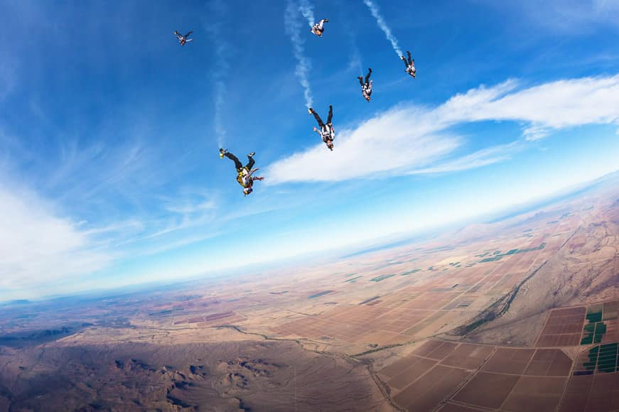 Red Bull Air Force team members training at Kirby Chambliss ranch near Casa Grande on 28 January 2014.