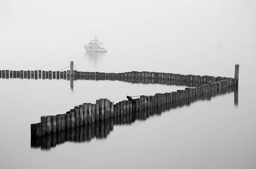 San Diego gets its fair share of fog. On this morning, it was insanely thick, rivaling Point Reyes in northern California.This shot is on Harbor Island facing toward downtown San Diego. The horizon is ever so slightly visible. On a clear day, the skyline dominates the harbor.