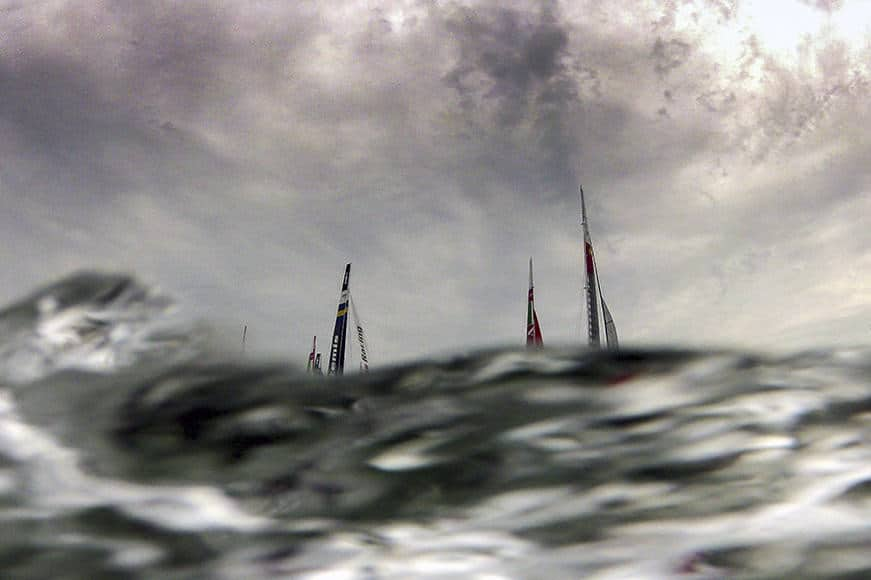 America's Cup AC 45 fleet compete during the America Cup World Series (ACWS) Fleet Race in Venice's lagoon on May 20, 2012. AFP PHOTO / OLIVIER MORIN