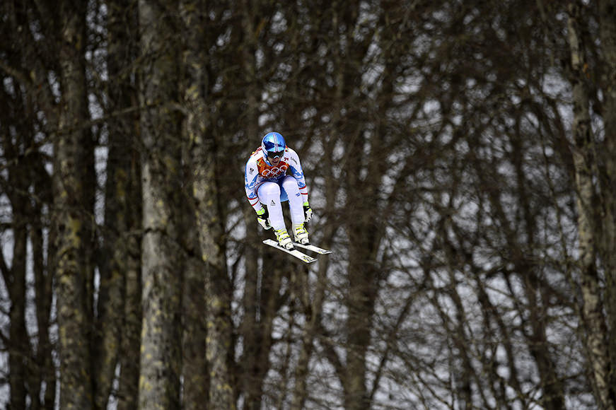 Austria's Matthias Mayer takes part in a Men's Alpine Skiing Downhill at the Rosa Khutor Alpine Center on February 9, 2014, during the Sochi Winter Olympics. AFP PHOTO / OLIVIER MORIN