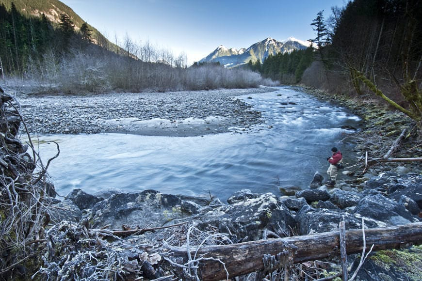 Fly fishing in the Chilliwack River, BC.