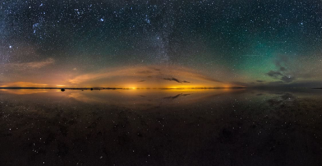Maranjab Salt lake and night sky