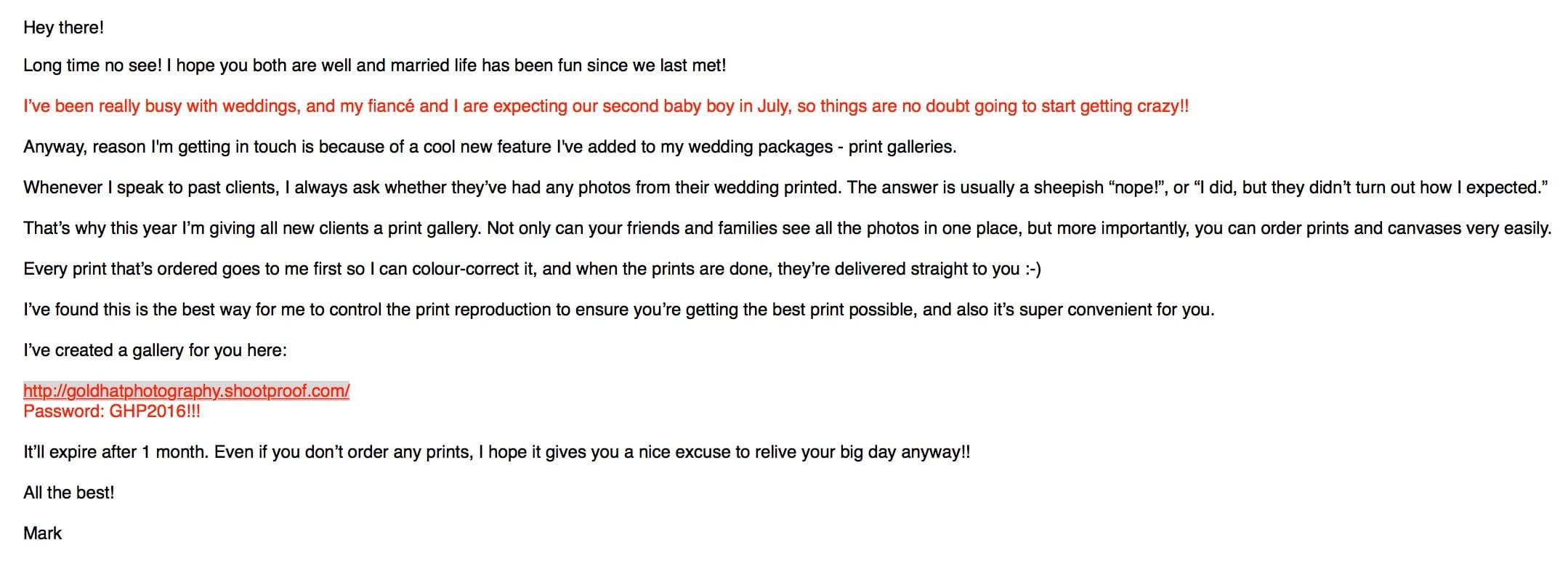 Example Shootproof email
