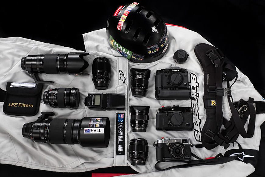 The Fuji mirrorless camera gear of motorsports photographer Andrew Hall, who uses a mirrorless crop sensor Fuji XT-2 as his workhorse camera.