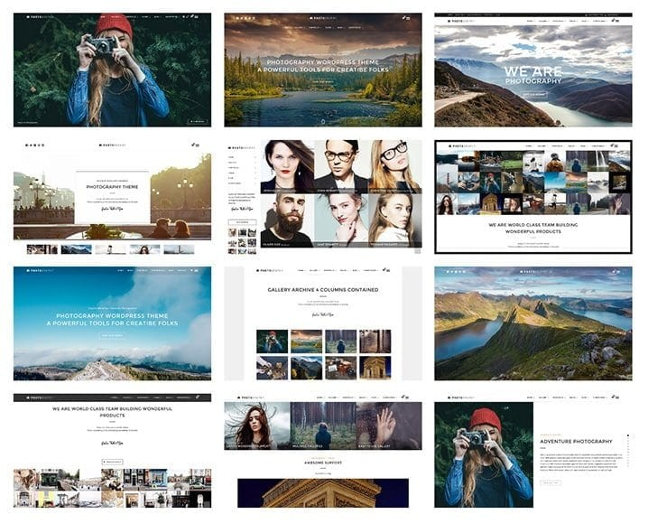 preview of WordPress themes for photography