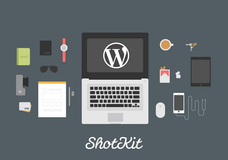 Image of a desk featuring laptop camera and wordpress logo for Shotkti