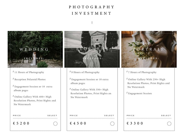 'Flohub', a Flothemes pricelist tool that allows you to show your photography rates to your clients in a well designed, efficient manner.