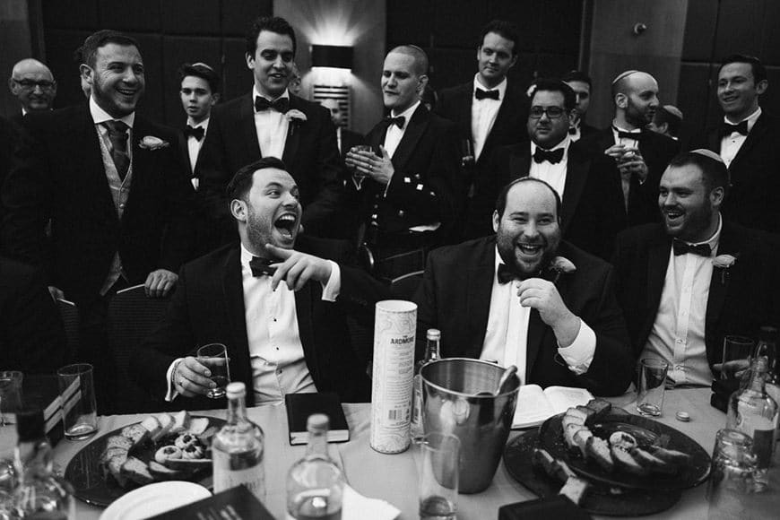Leica Q review photo of groomsmen at wedding in UK