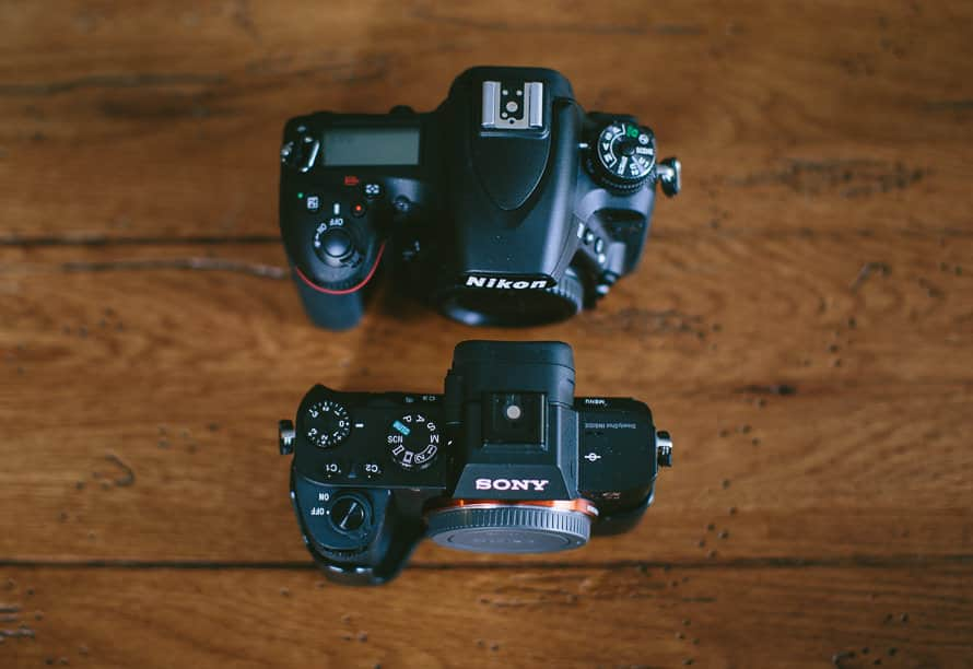 mirrorless vs dslr size comparison with a Nikon dslr and a Sony mirrorless camera