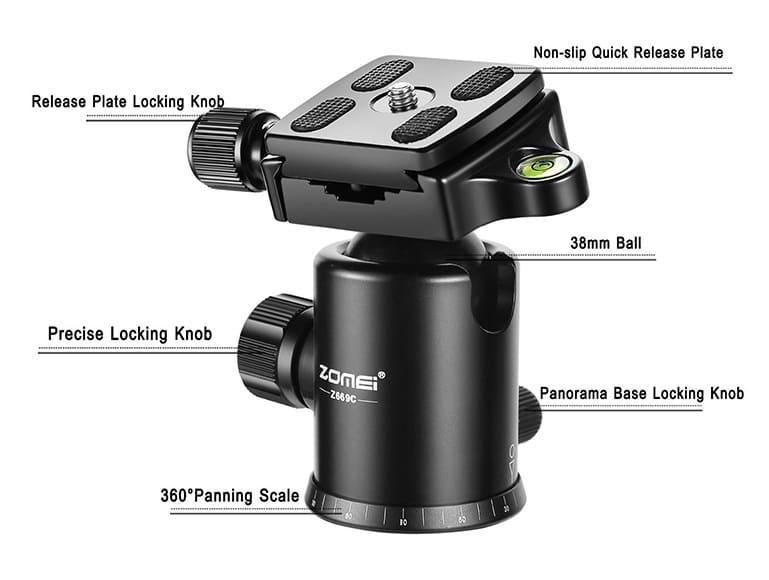 ZOMEI Z699C Portable Carbon Tripod 4 ballhead closeup
