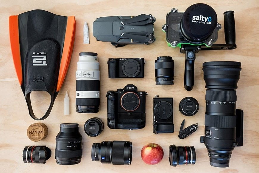 Sony a7rII mirrorless camera gear of a surf photographer