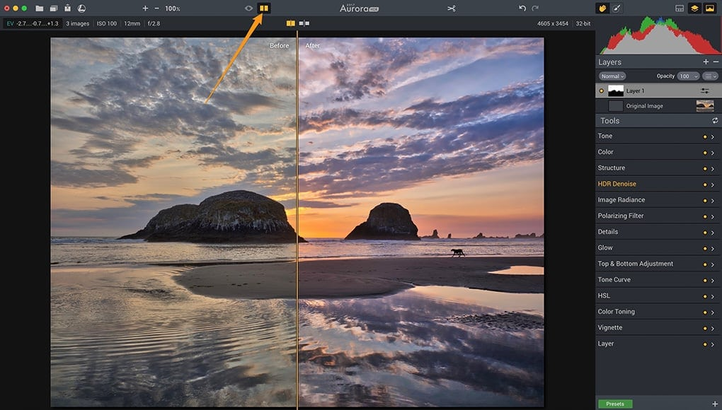 Before_After of an HDR image
