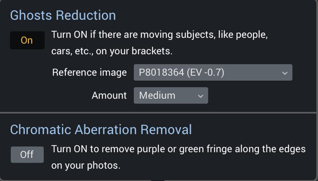 HDR Photography software - Additional Settings