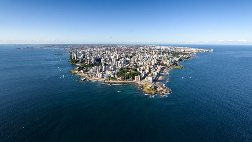 Aerial continental view of the Salvador City