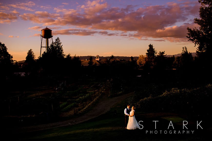 Sunset wedding portrait by Stark Photography
