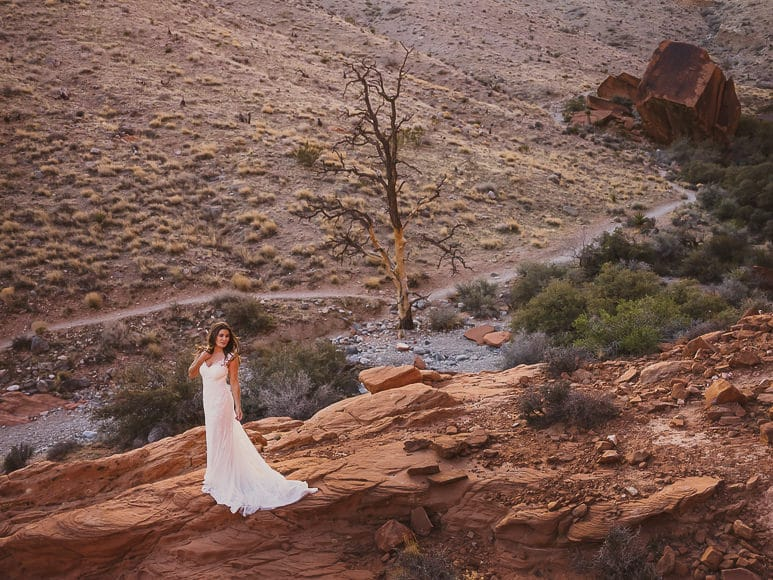 Bride on rocks at Red Rock Canyon CA