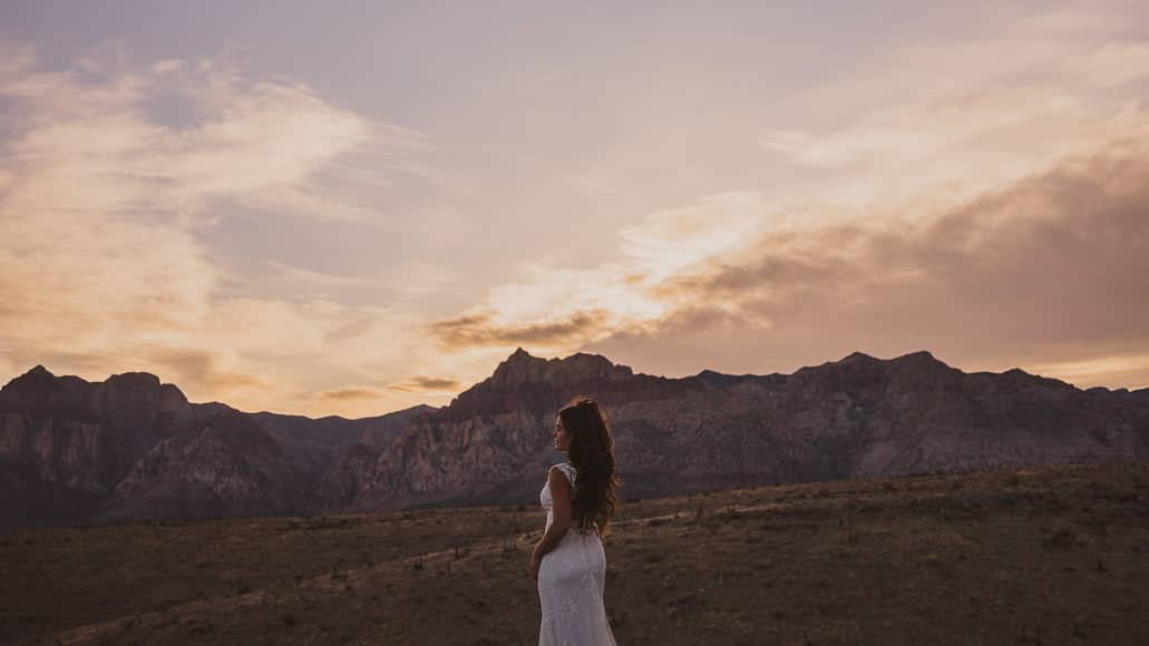 Bride at red rock canyon at dusk