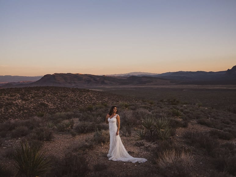 Bride in the desert by Mark Condon of Gold Hat Photography