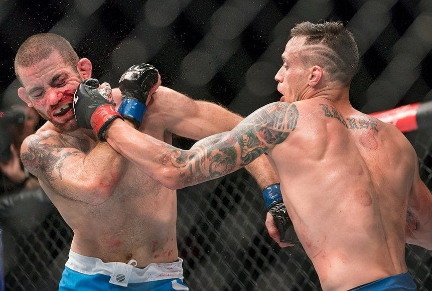 Tom Gallicchio (L) takes a punch during his  TUF Welterweight Match from James Krause (R) at The Ultimate Fighter Championship in Las Vegas, Nevada, USA, 07 July 2017.  EPA/Nick Didlick