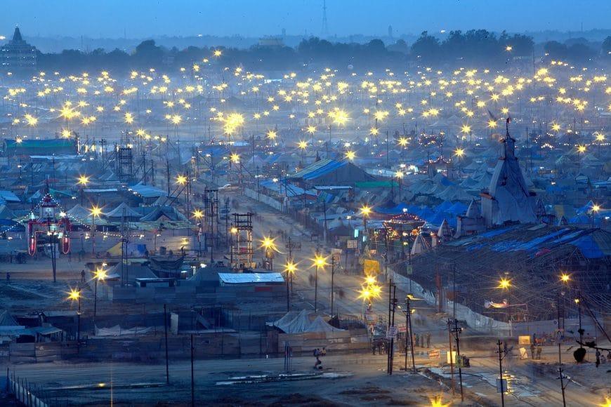 Maha Kumbh Mela, Allahbad, Evening of the full moon, Maghi Purnima Snan on 25th February 2013. An estimated 18 million people visted the Kumbh Mela that day.