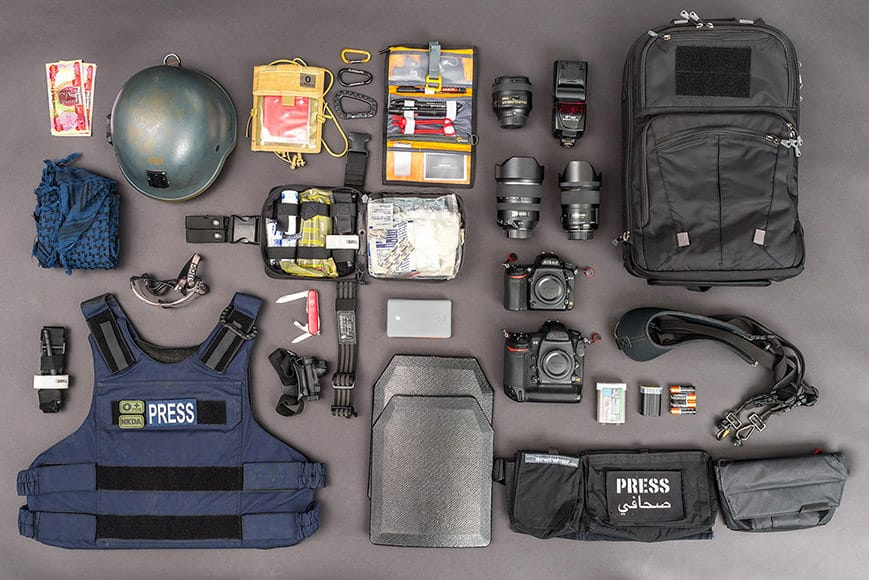 war photojournalist camera gear