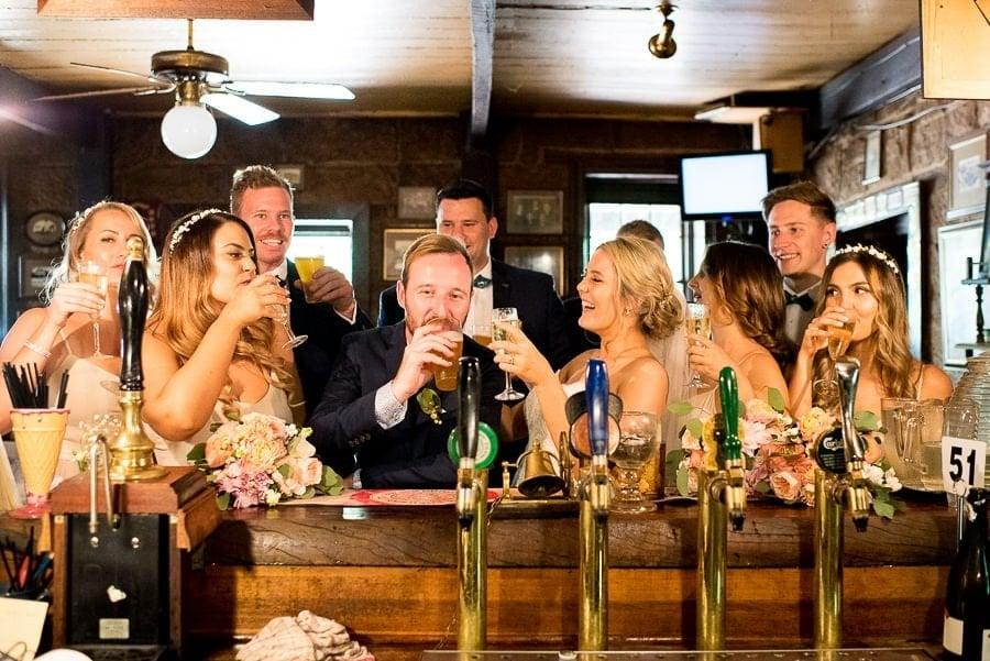 bridal party in pub