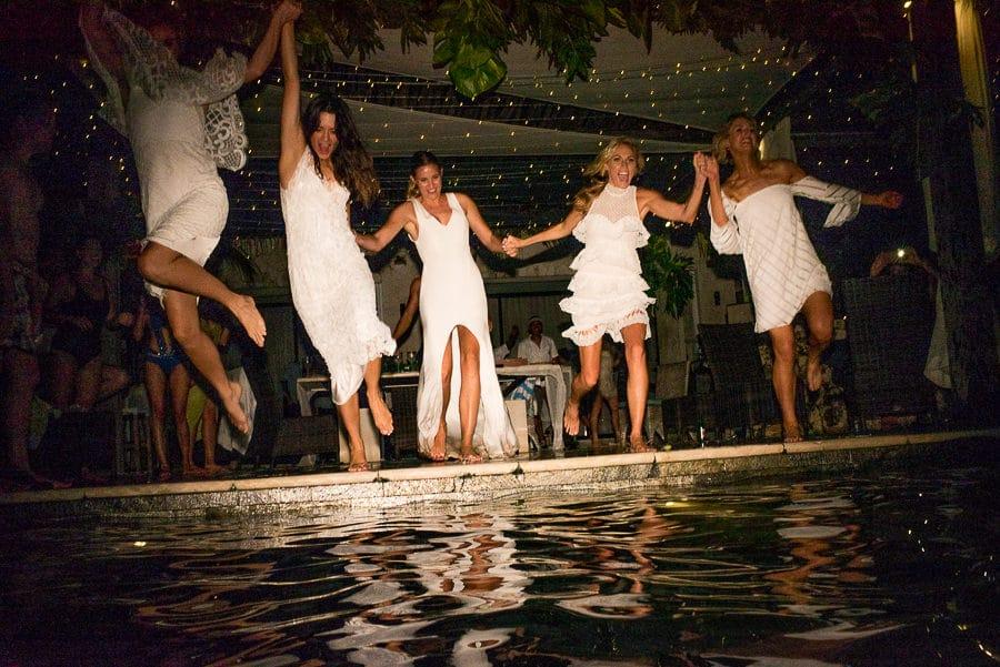 bridesmaids jump in pool