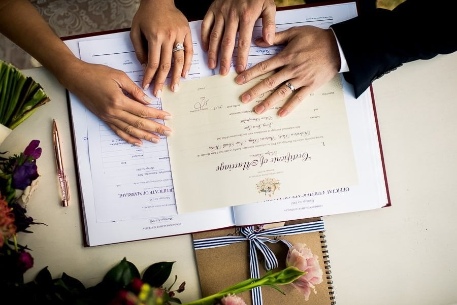 marriage registry - photography for wedding