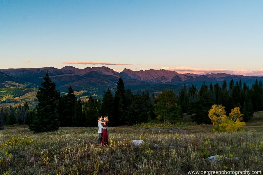 engagement photo in colorado rocky mountains near vail