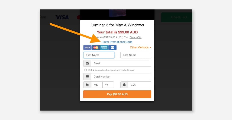 where to enter the coupon code for Luminar 3