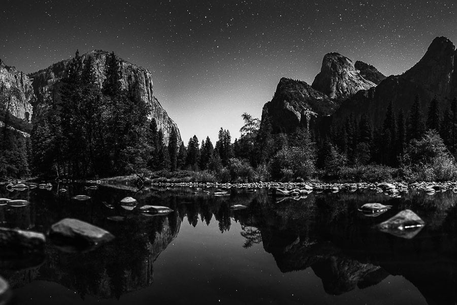 Astrophotography Tips Photos Of Stars Yosemite National Park - b&w to save white balance adjustments. Check exposure times in camera settings for great night sky photography
