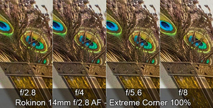 Rokinon 14mm ultrawide lens corner sharpness test