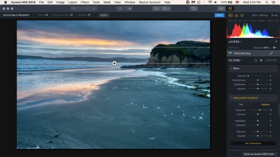 The top and bottom lighting filter is especially useful for landscapes