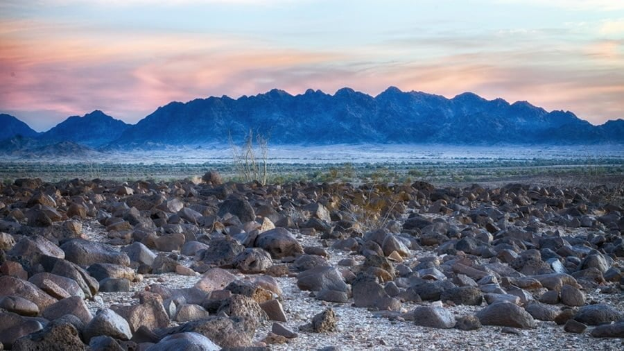 Capturing the mountain colors at sunset in the California desert