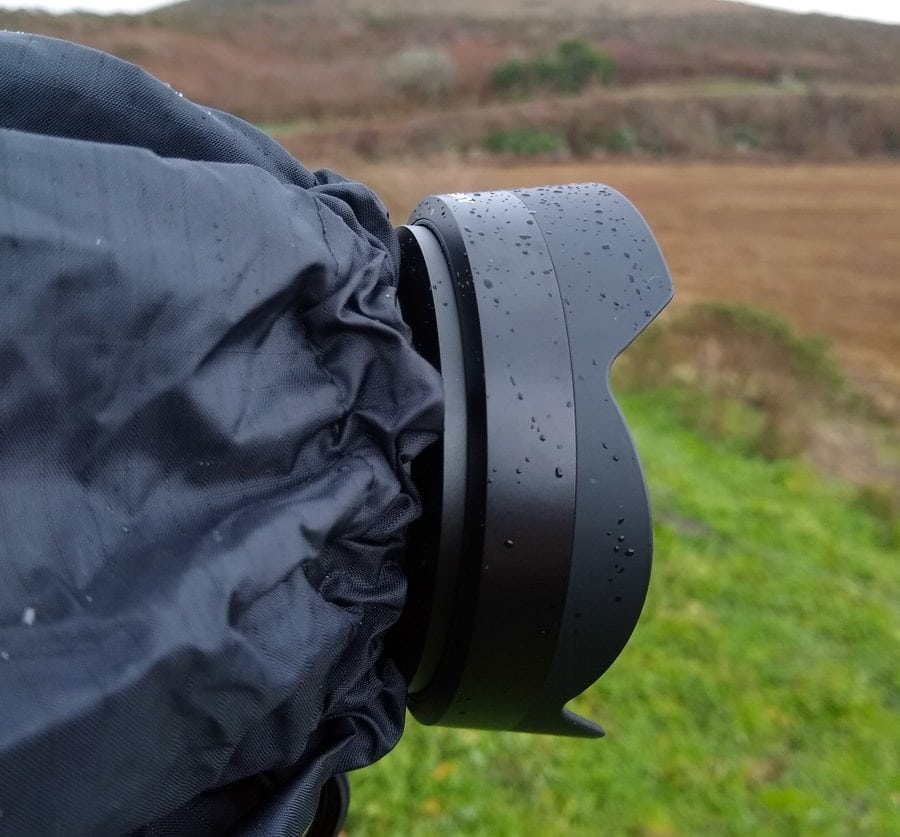 The Vortex Storm jacket has a cinch that fits snugly around your camera's lens