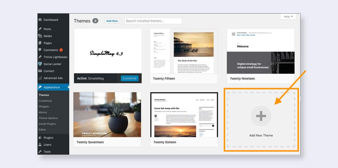 Add new WordPress theme to start creating your first pretty blog post
