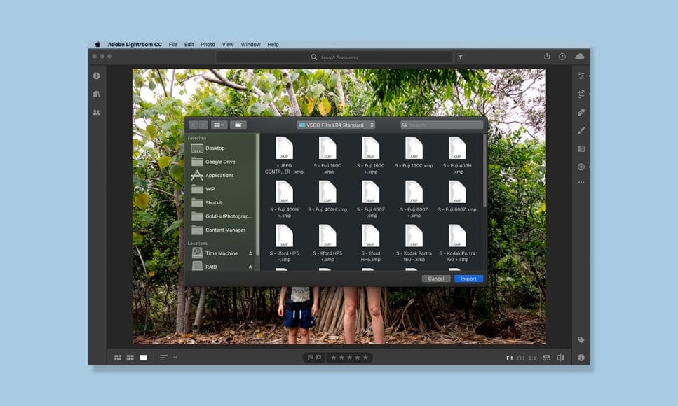 how to import presets lightroom cc