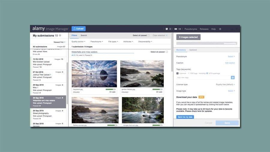 Alamy Image manager