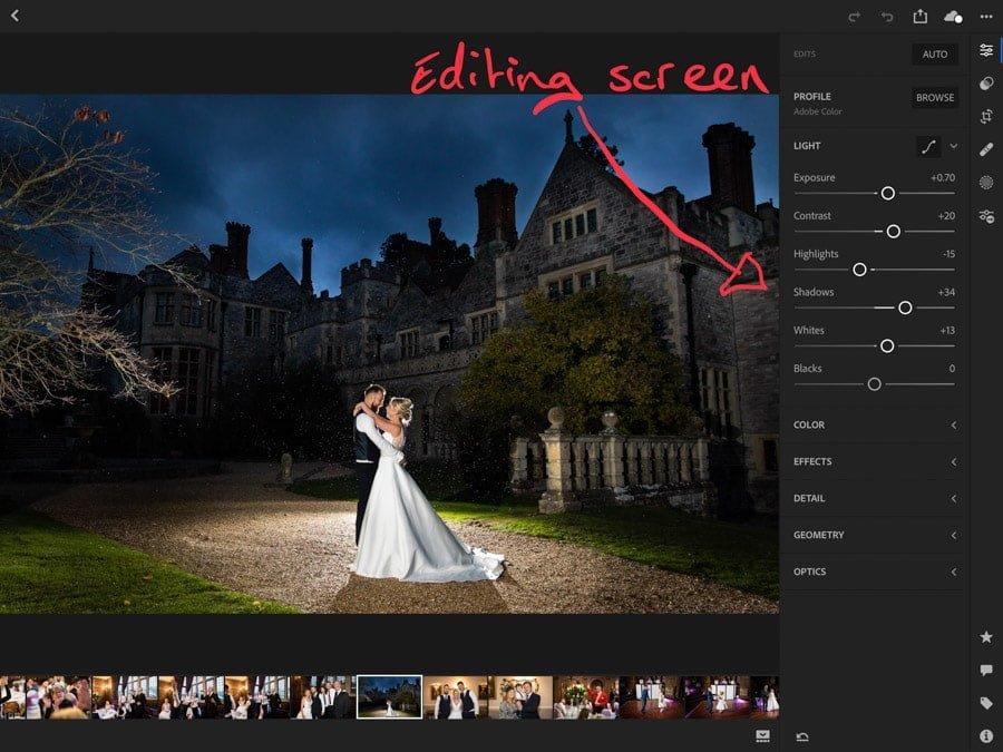 Editing Screen on iPad Pro