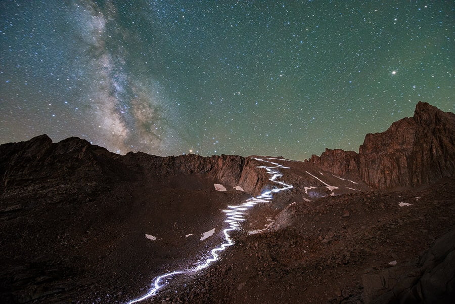 Milky Way photography - core over Mt Whitney. Note white balance in long exposure camera settings to shoot the milky way and preserve bright star
