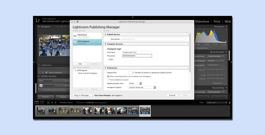 Lightroom plugin for direct transfer of photos to instagram