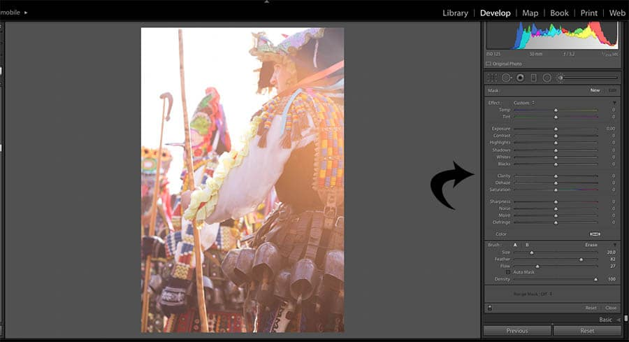 screenshot of expanding the develop module while lightroom editing an image