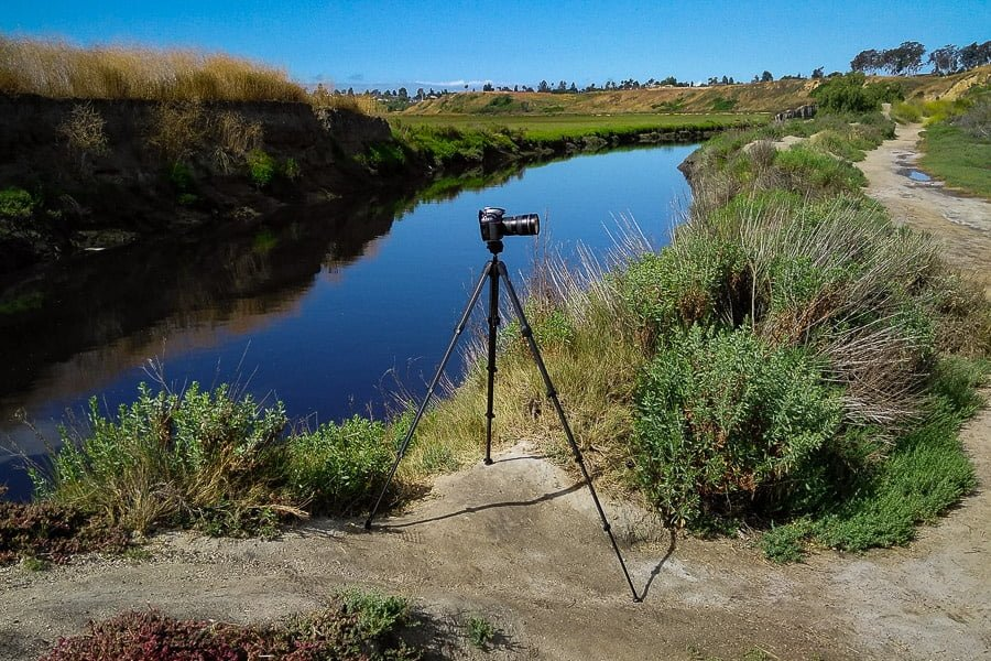 Peak Design Travel Tripod shown with camera