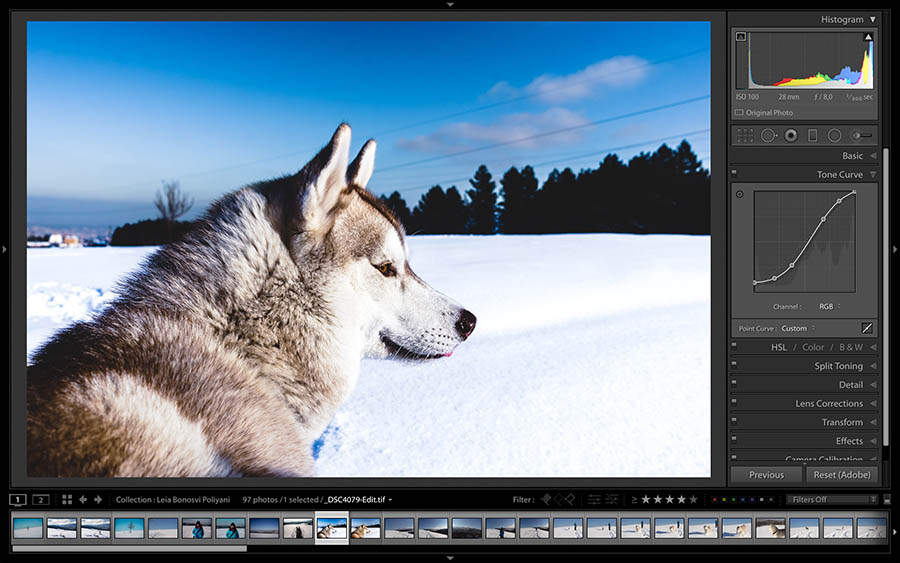using the fade effect for white balance and color images