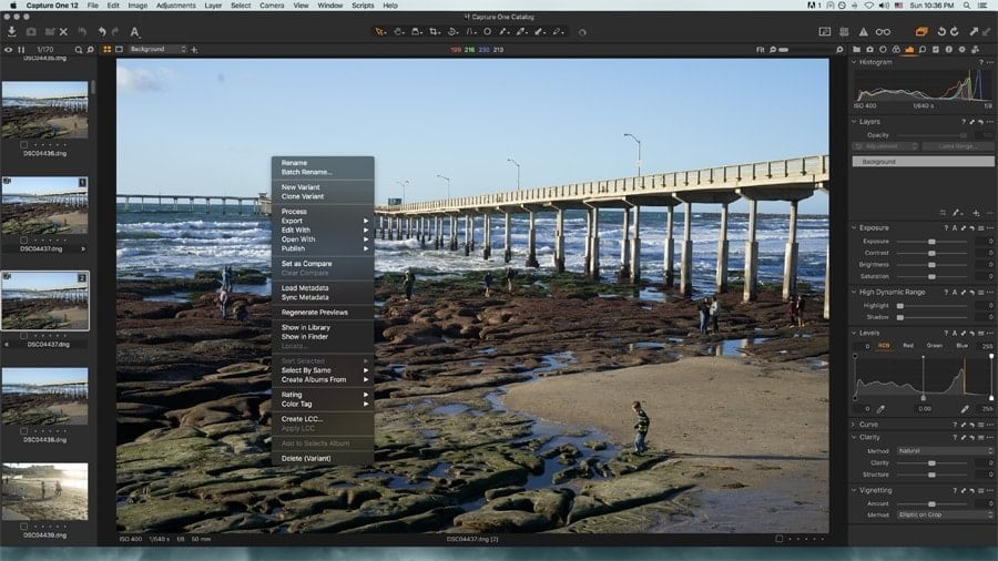 Capture One Right Click menu