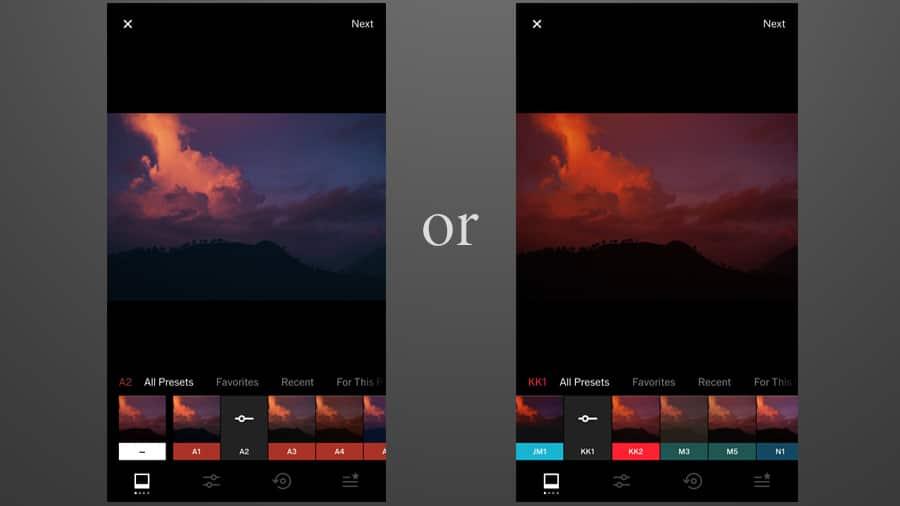 a screenshot of using the VSCO app