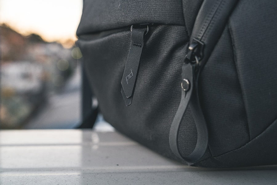 Close up of zips on the Peak Design Everyday Sling